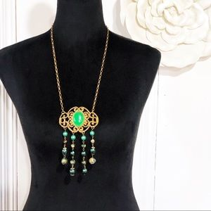 Vintage Green & Gold Ornate Beaded Necklace